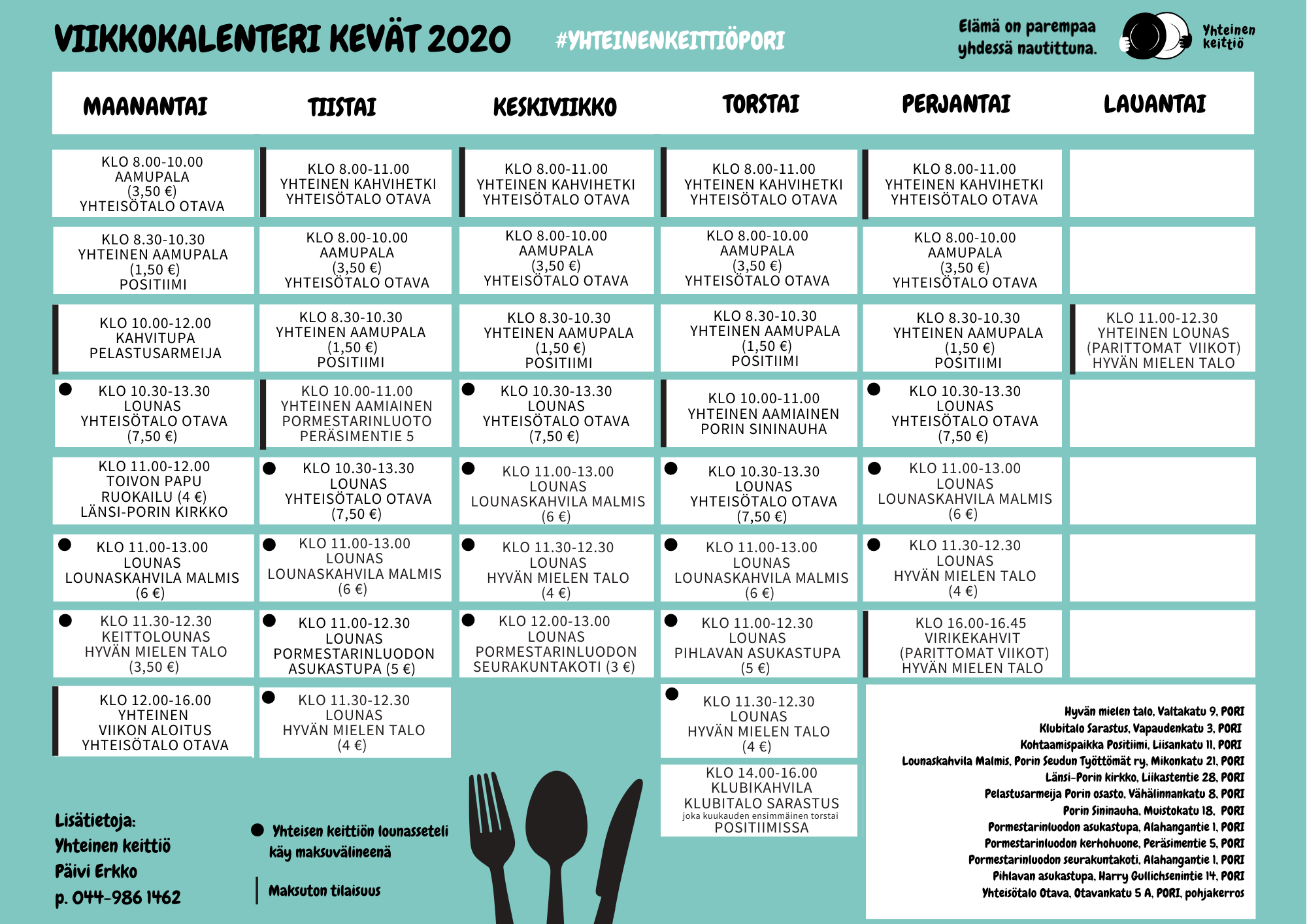 Yhteinen keittiö viikkokalenteri kevät 2020