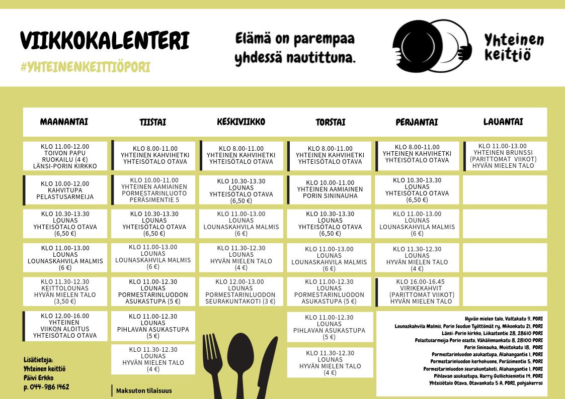 Yhteinen keittiö viikkokalenteri syksy-talvi 2019