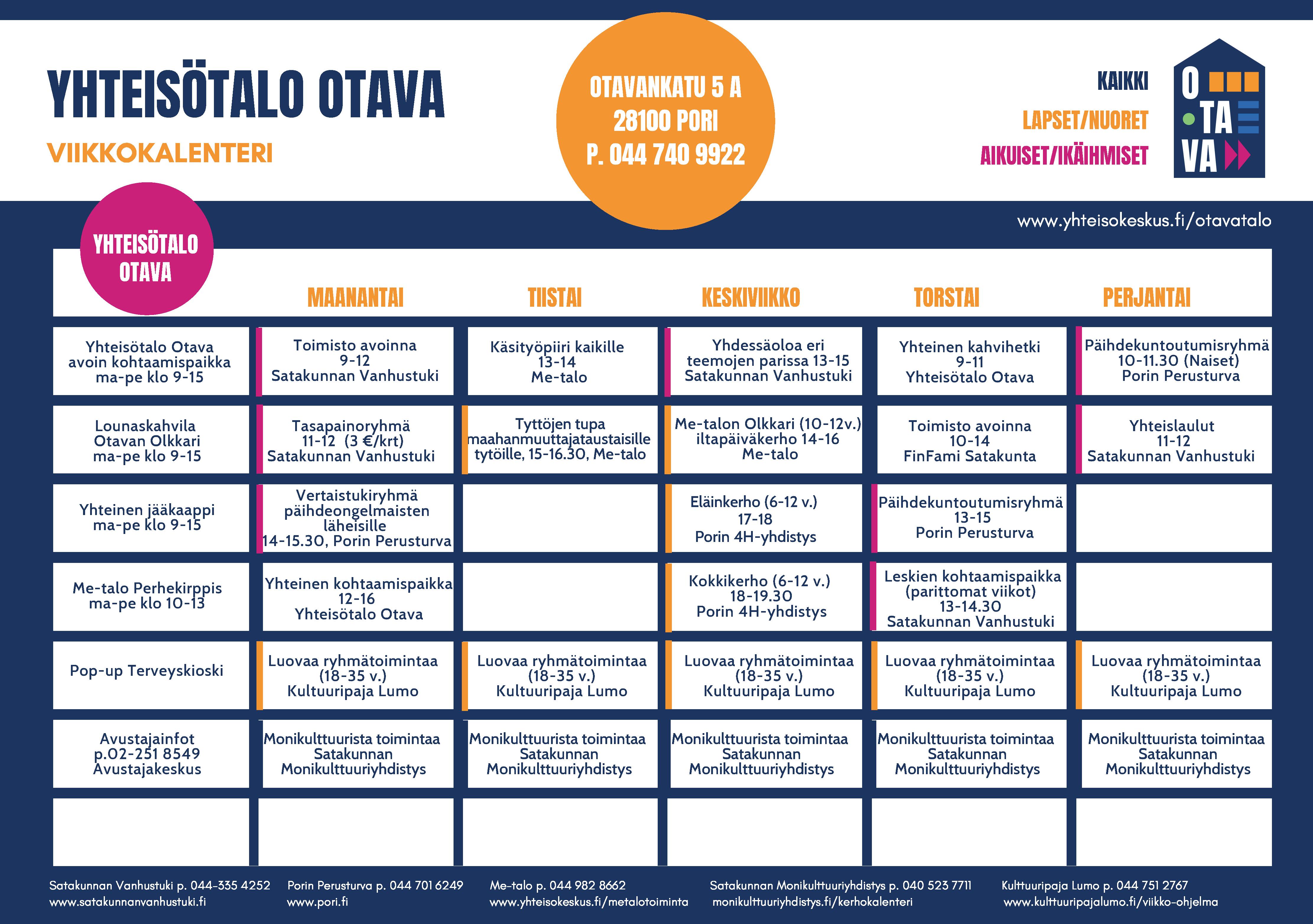 Yhteisötalo Otava viikkokalenteri