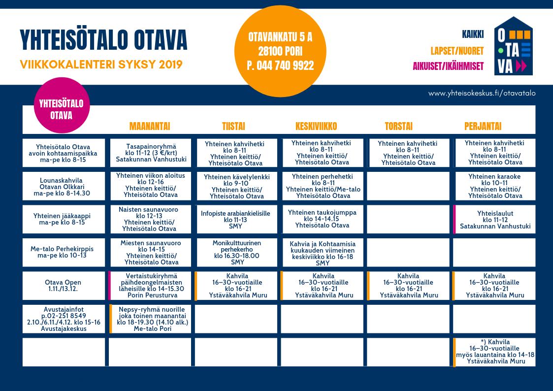 Yhteisötalo Otava viikkokalenteri 2019